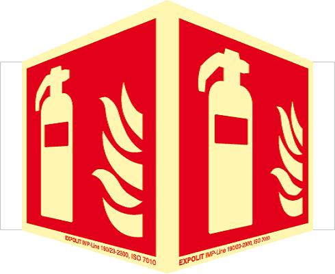 Feuerlöscher Winkelschild, Alu