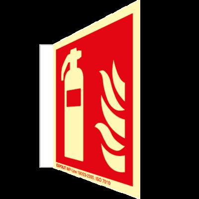 Feuerlöscher Fahnenschild, Alu