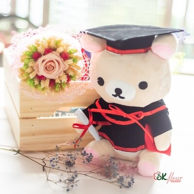 NEW JOURNEY - 1 GRADUATION RILAKKUMA & 1 TRIGO WHEAT ROSE BOUQUET