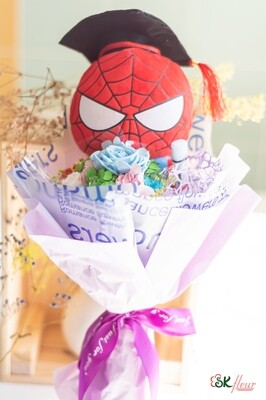 NEW JOURNEY - GRADUATION SPIDER-MAN WITH PRESERVED ROSE BOUQUET
