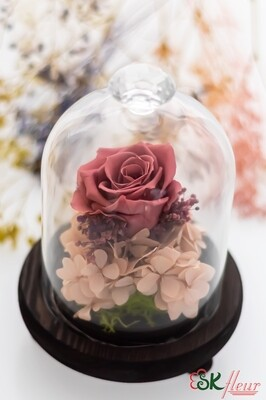 GREENHOUSE GLASS WITH LED LIGHT (18cm) - SMOKY PINK ROSE