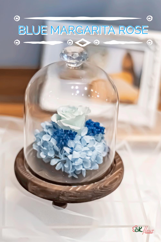 GREENHOUSE GLASS WITH LED LIGHT (18cm) - BLUE MARGARITA ROSE