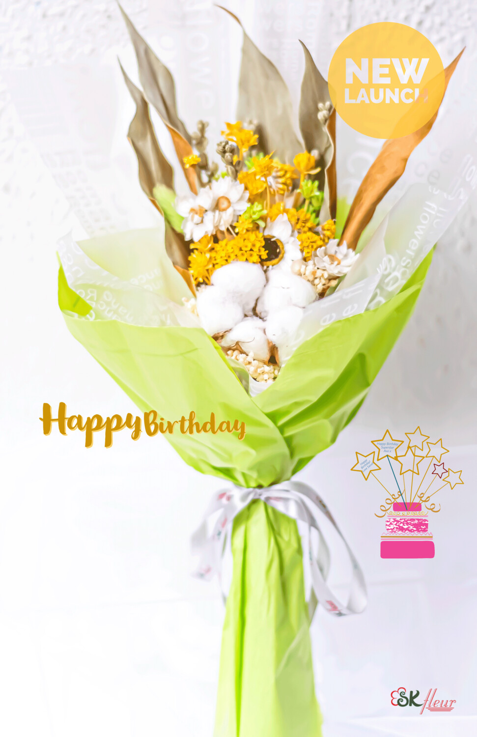 PETITE SIZE DRIED FLOWER BOUQUET - YELLOW & GREEN
