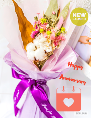 PETITE SIZE DRIED FLOWER BOUQUET - PINK & WHITE