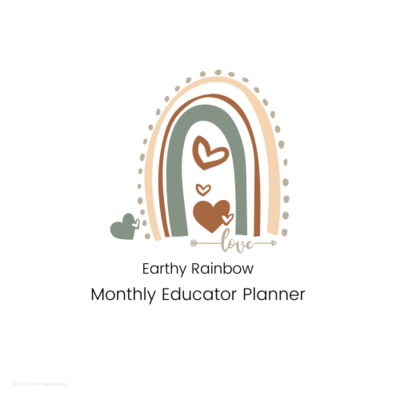 Early Childhood Education - Monthly Planner - Earthy Rainbow