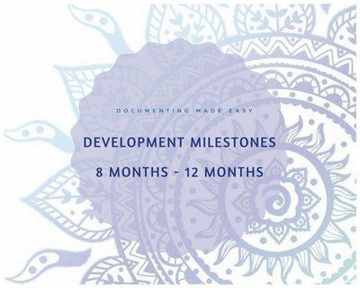 Documenting Made Easy - Developmental Milestones -  8 Months -12 Months