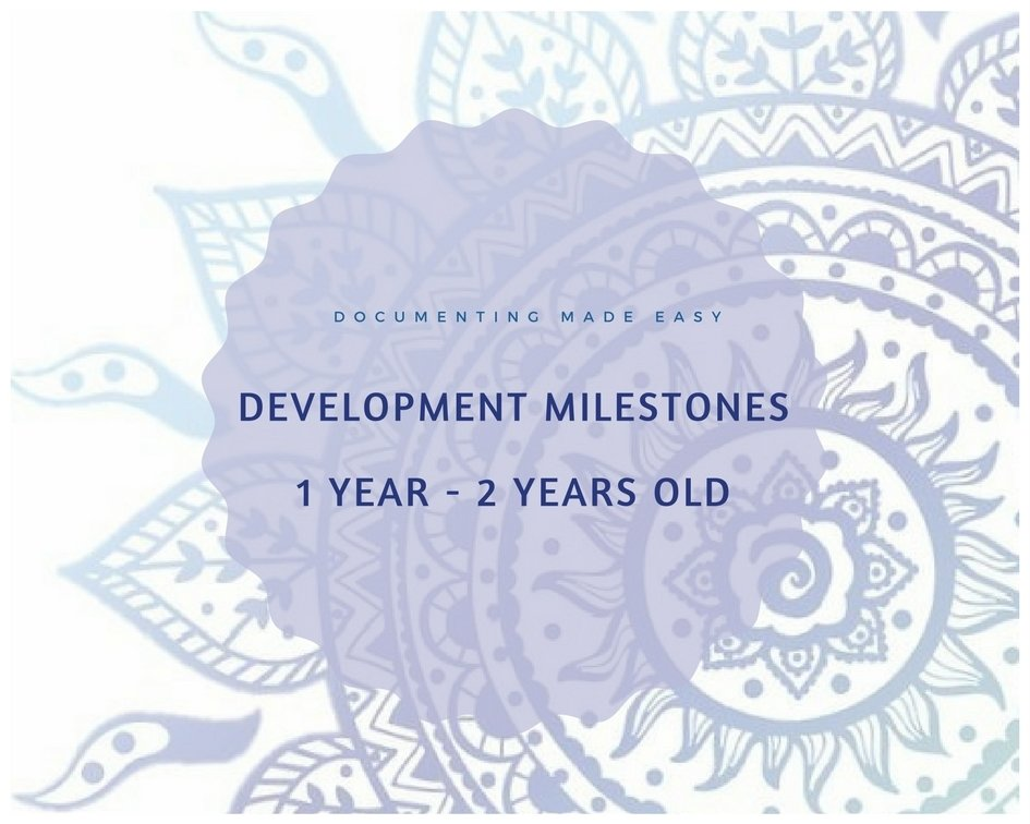 Documenting Made Easy - Developmental Milestones - 1 Year - 2 Years