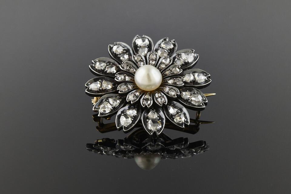 Late Georgina/Early Victorian Diamond Flower Brooch