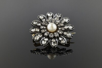 Late Georgina/Early Victorian Diamond Flower Brooch