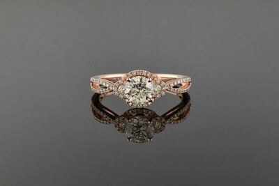 Rose Gold Split Shank Diamond Engagement Ring