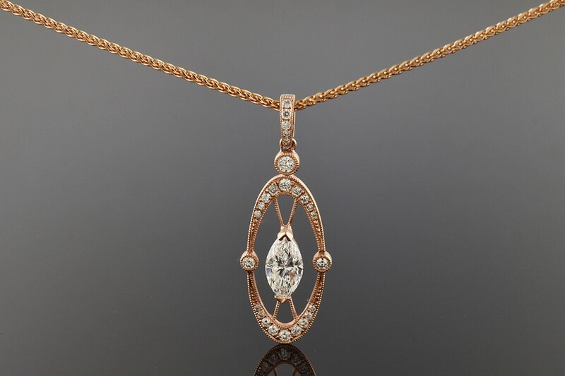 Rose Gold Marquise Diamond Necklace/Pendant