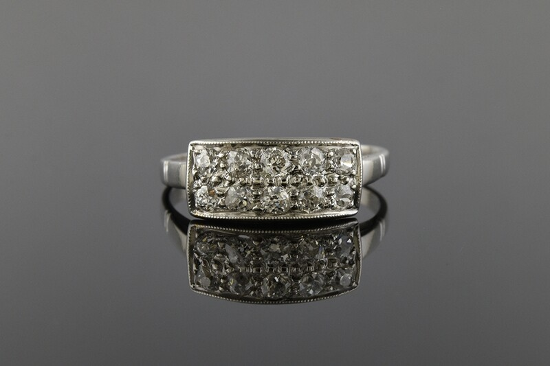 Platinum and Diamond Double Row Ring