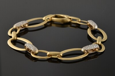Yellow Gold Oval Link Diamond Bracelet