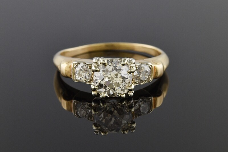 Vintage Yellow Gold Old European Cut Diamond Ring