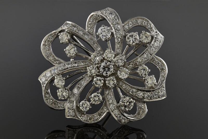 Diamond Ribbon Brooch