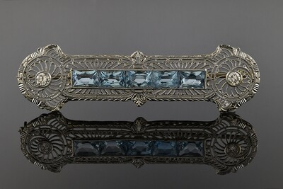 Aquamarine Bar Brooch