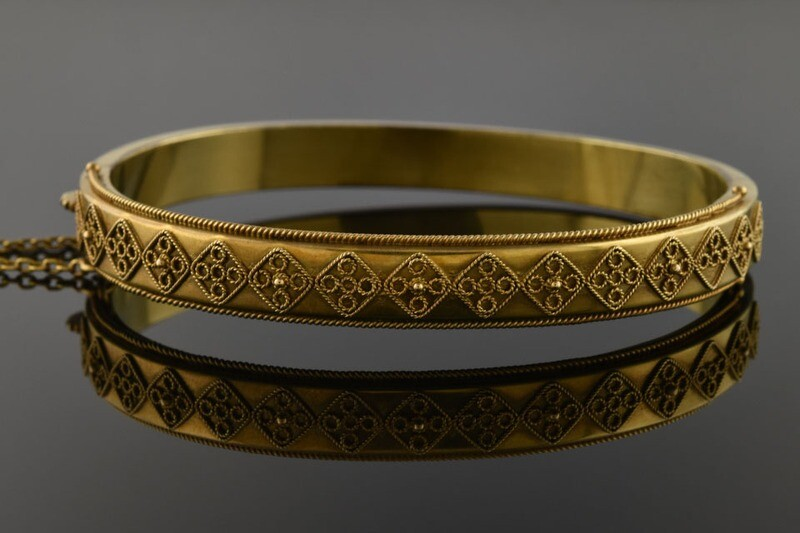 Etruscan Revival Bangle Bracelet