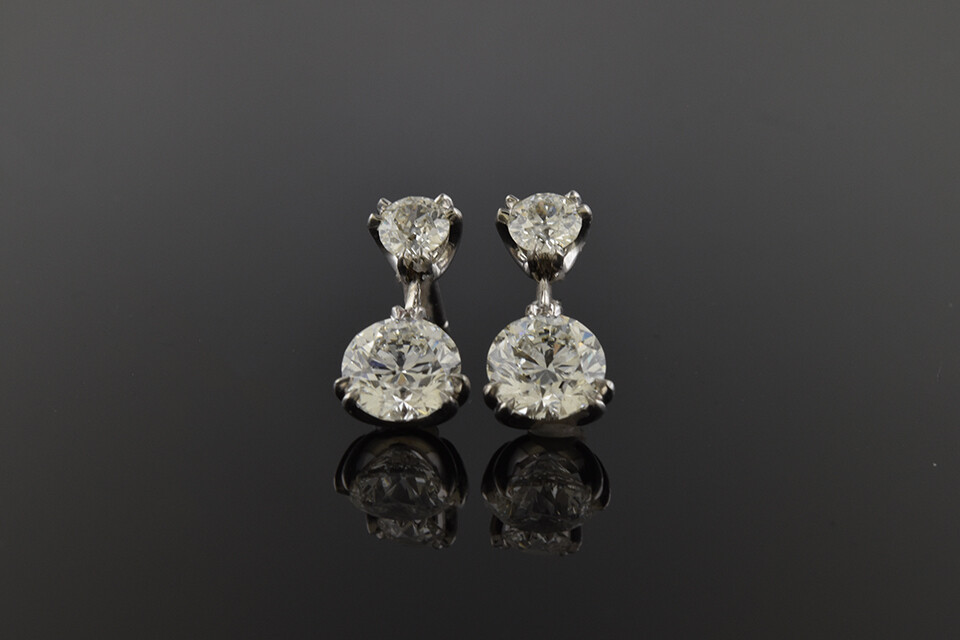 Platinum and Diamond Dangle Earrings