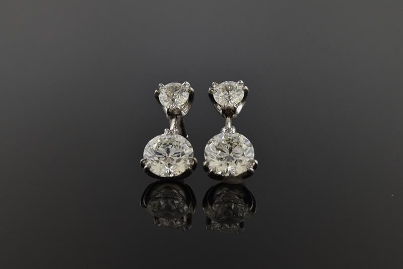 Platinum and Diamond Dangle Earrings