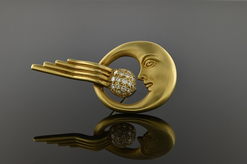 Diamond Crescent Moon Brooch