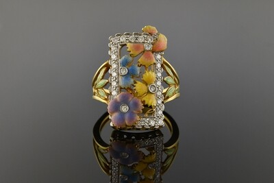 Masriera Floral Enamel & Diamond Ring