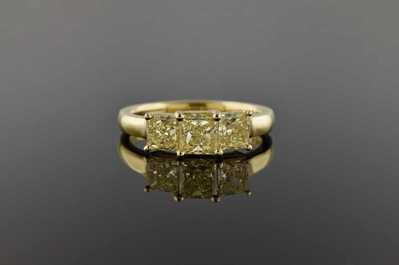 Fancy Yellow Diamond 3 Stone Ring