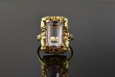 Kunzite Ring With Floral Frame
