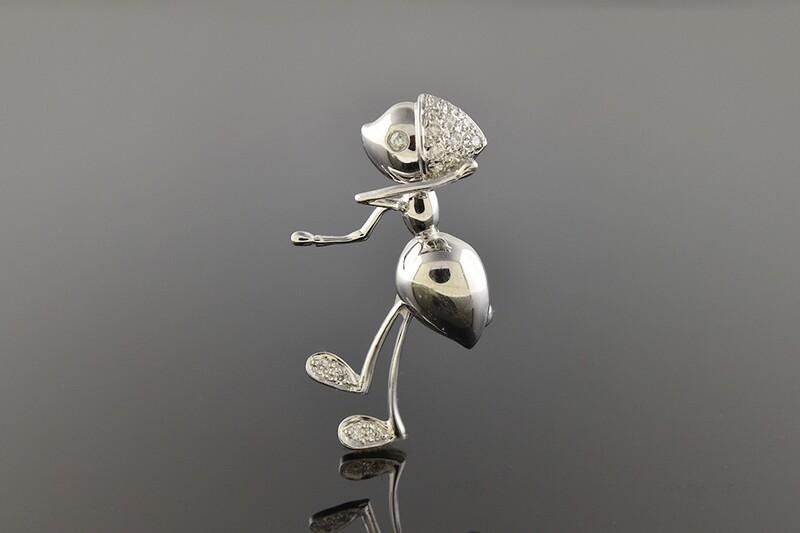 Diamond Ant Brooch