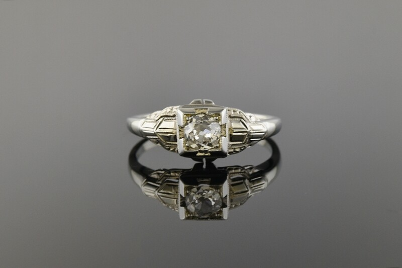 Dainty White Gold Diamond Ring