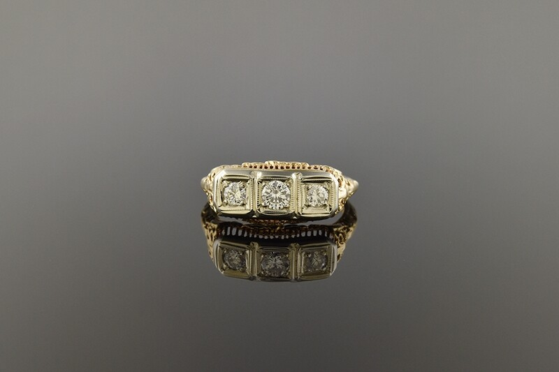Floral Filigree Three Diamond Ring