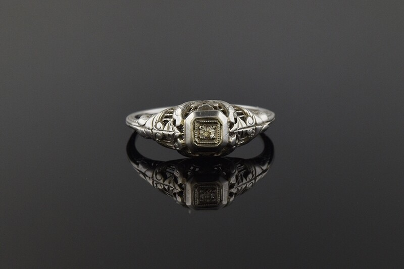 Filigree Ring with Diamond