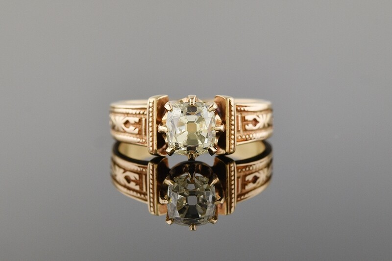 Carved Victorian Diamond Ring