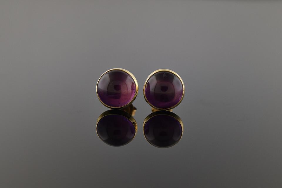 Amethyst Button Earrings