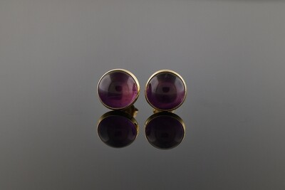 Amethyst Button Earrings