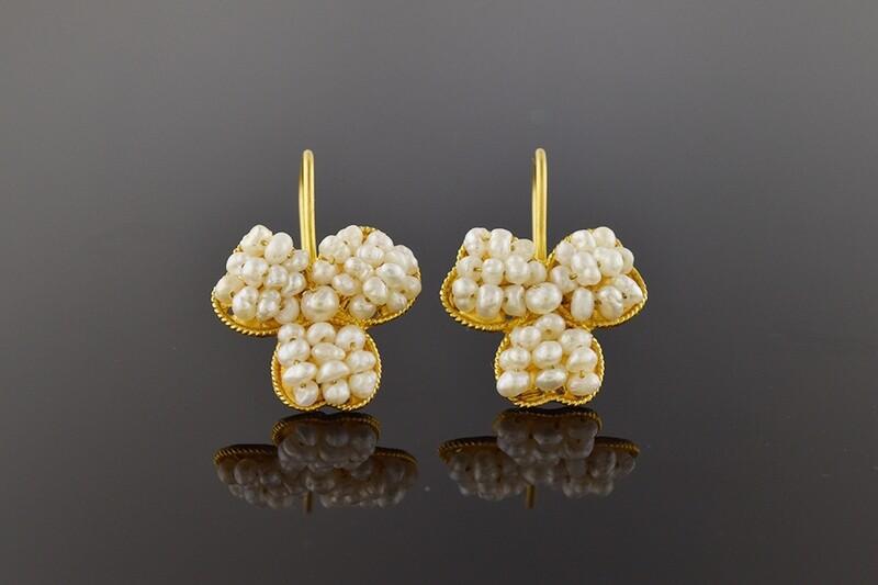 Seed Pearl Clover Earrings