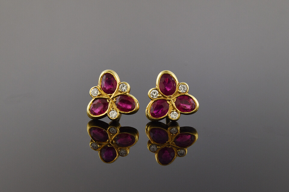 Contemporary Ruby & Diamond Earrings