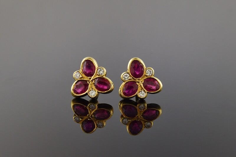 Contemporary Ruby & Diamond Earrings