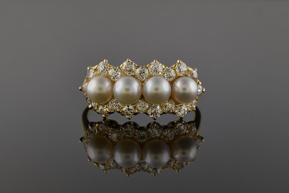 Yellow Gold Natural Pearl & Diamond Ring
