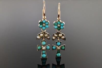Victorian Turquoise Cross Earrings