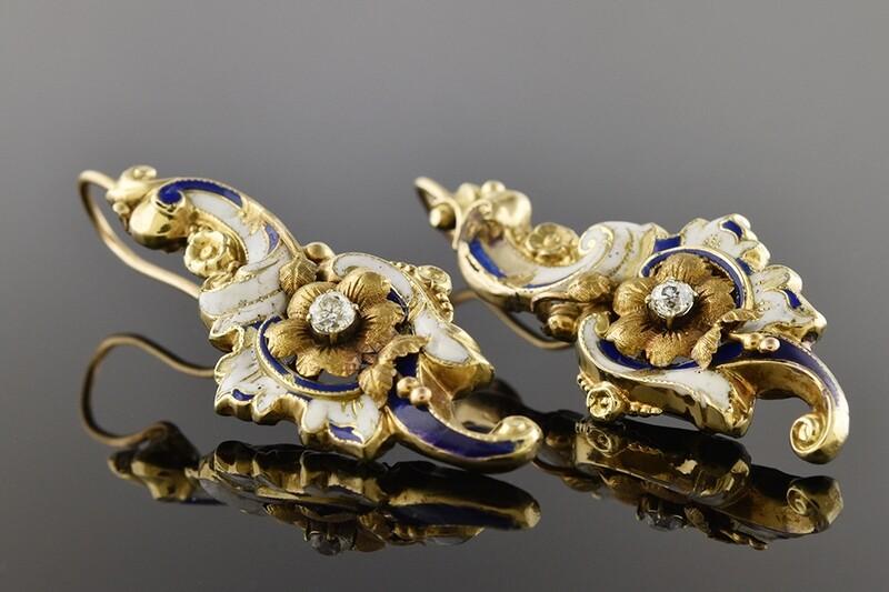 Blue & White Enameled Art Nouveau Earrings