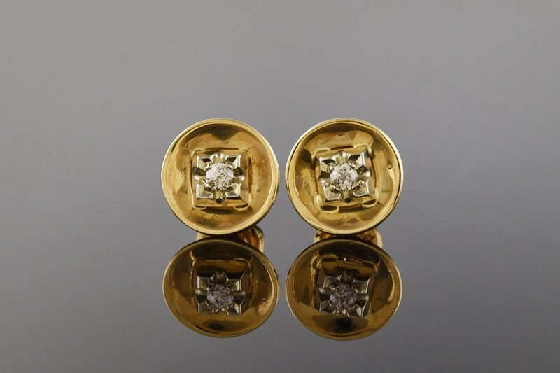 Gold Disk Earrings With Diamond Accents