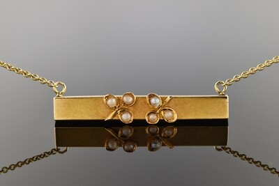 Bar Pin Necklace with Clover Accents