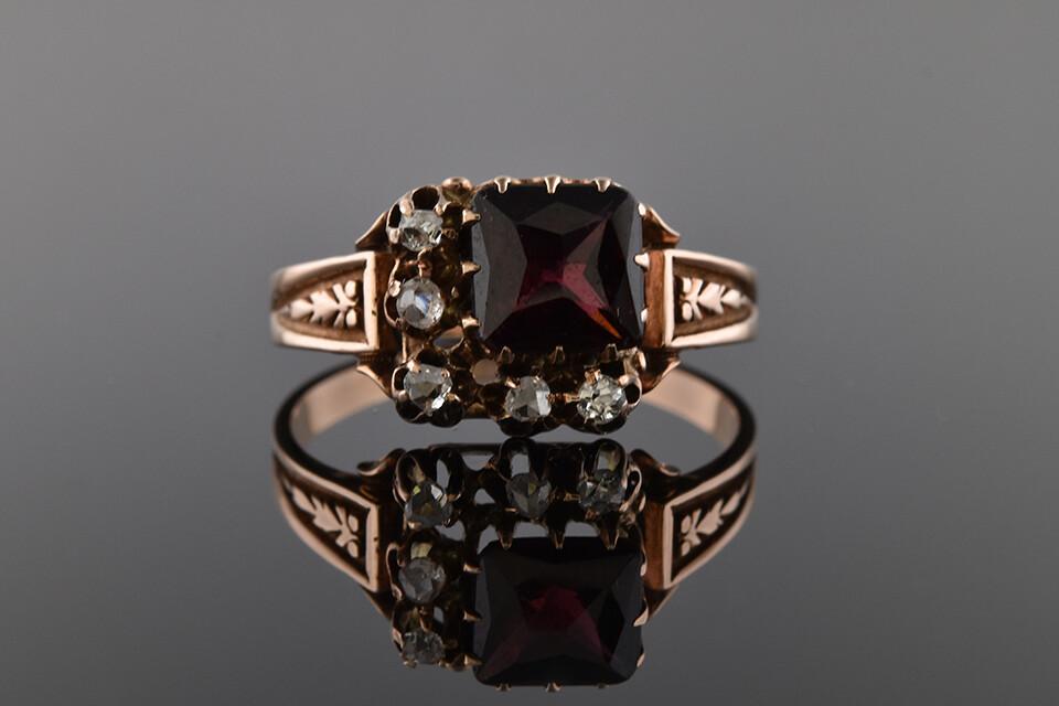 Asymmetrical Antique Garnet Ring