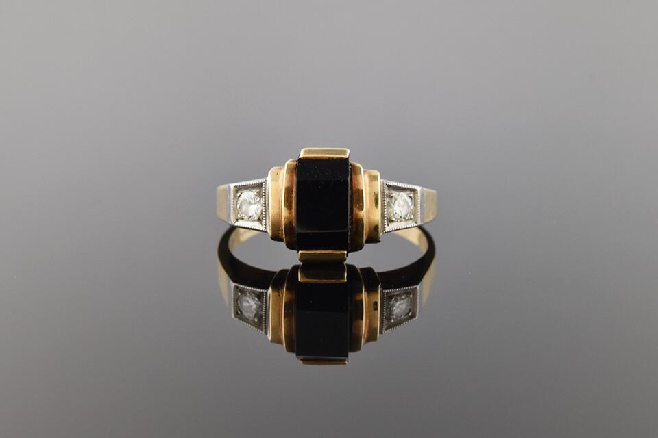 Turn of The Century Onyx & Diamonds Ring