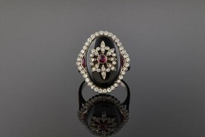 Vintage Inspired Onyx & Diamond Ring