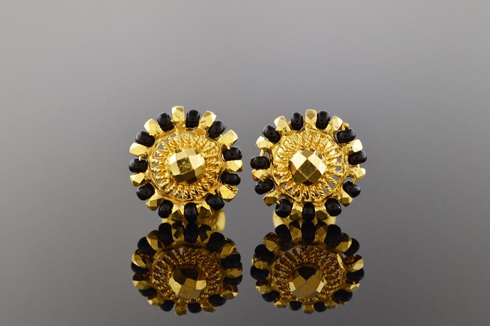 High Karat Gold & Onyx Earrings
