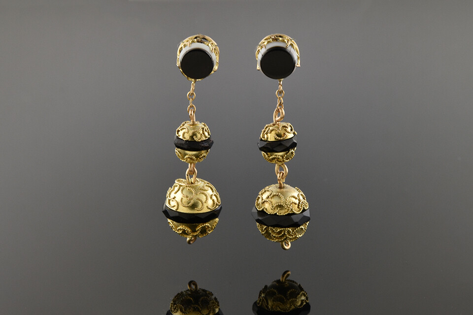 Black and White Chalcedony Etruscan Earrings