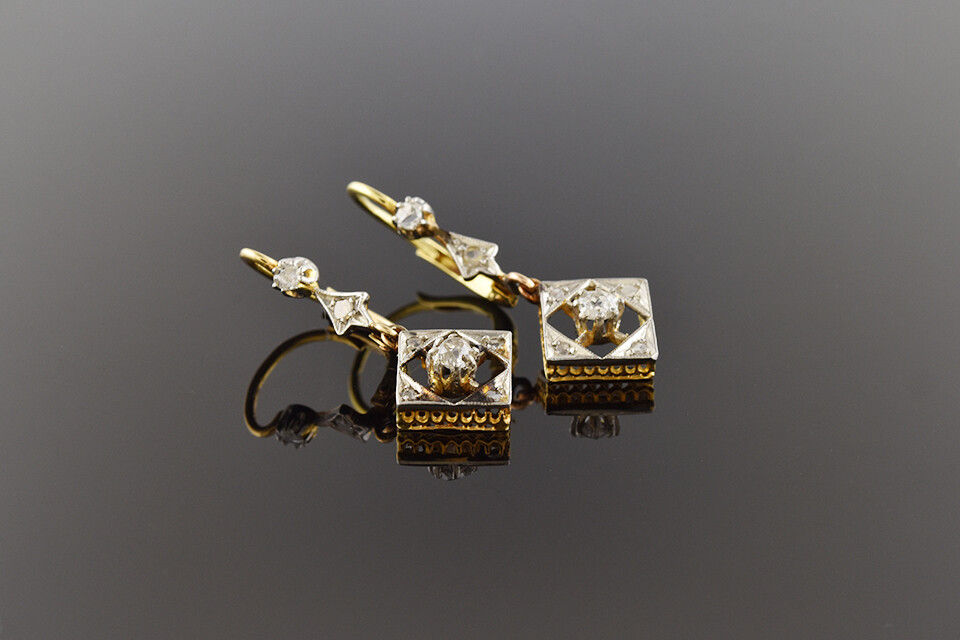 Elegant Edwardian Diamond Earrings