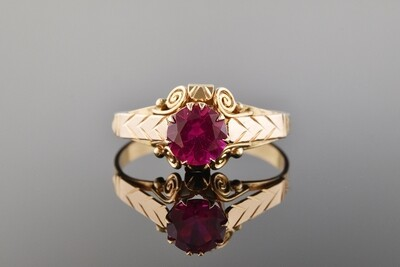 Fancy Ring With Bright Pink Stone