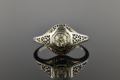 Filigree & Diamond Art Deco Ring